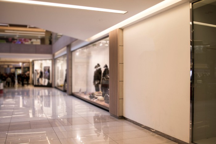 A shopping mall corridor