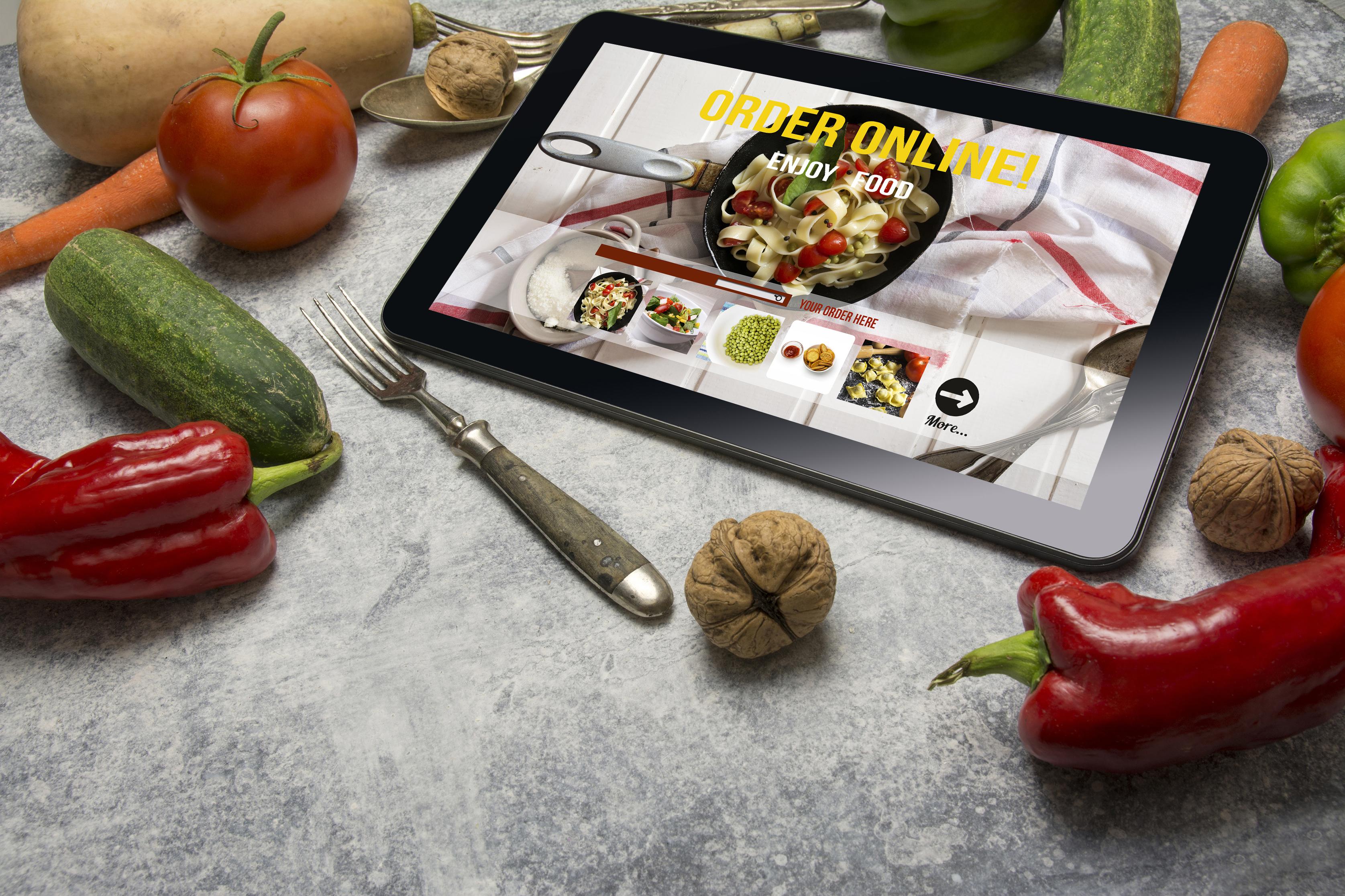 Tablet with online food ordering menu