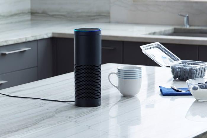 Amazon Echo device on kitchen counter