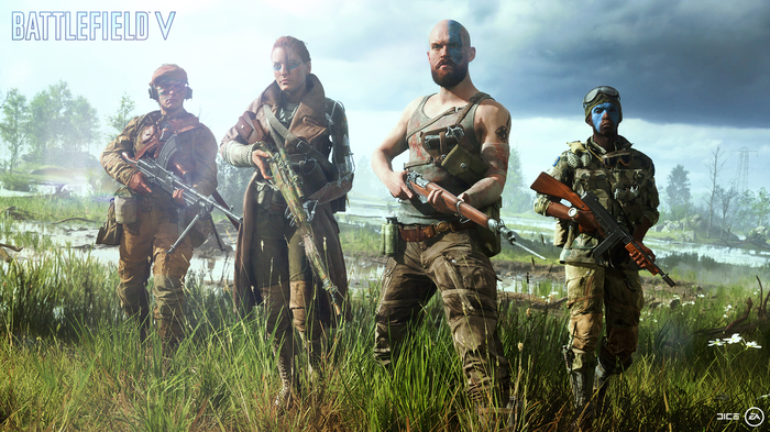 Four characters standing in Battlefield V