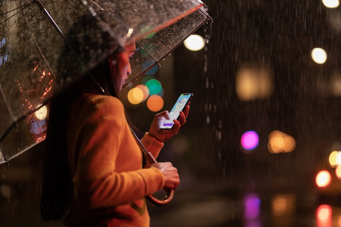 A woman holding an iPhone Xs and an umbrella in the rain.