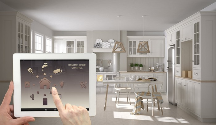 A tablet device with options to control multiple smart home devices.
