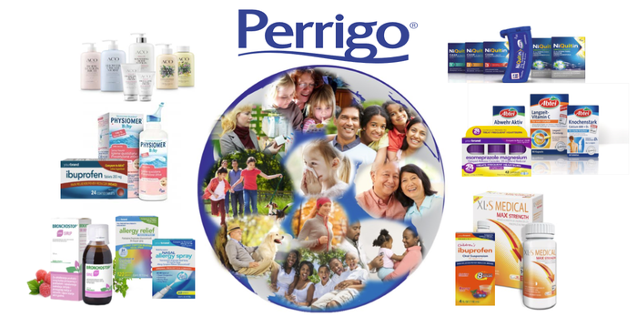 Perrigo logo with pictures of various products and people.