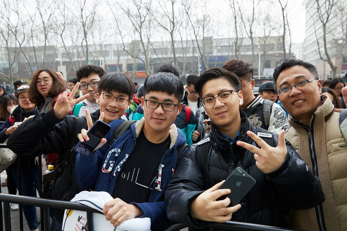 People gathered outside of Apple's Nanjing store.