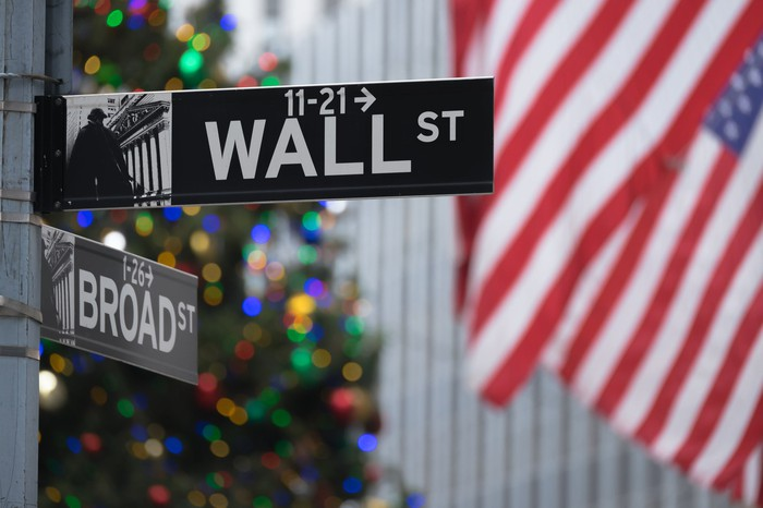 Wall Street and Broad Street signs with American flags and a Christmas tree in the background