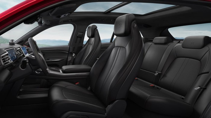 A view of the ES6's interior, with seats trimmed in black leather.