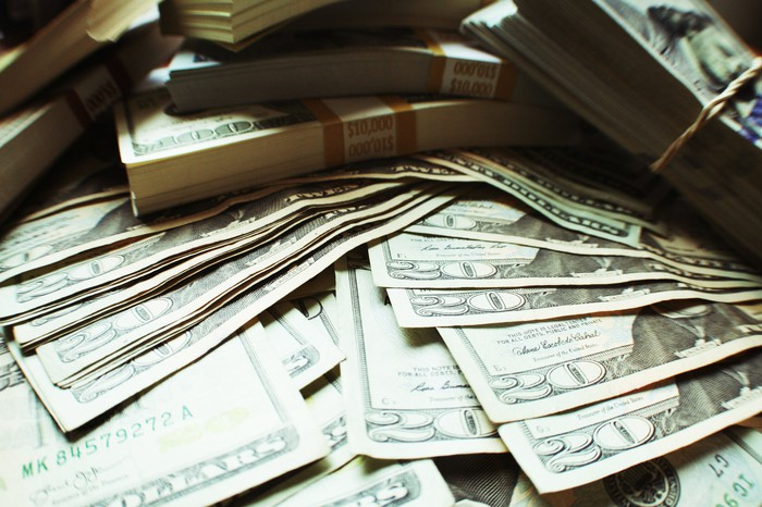 Stacks of $20 bills