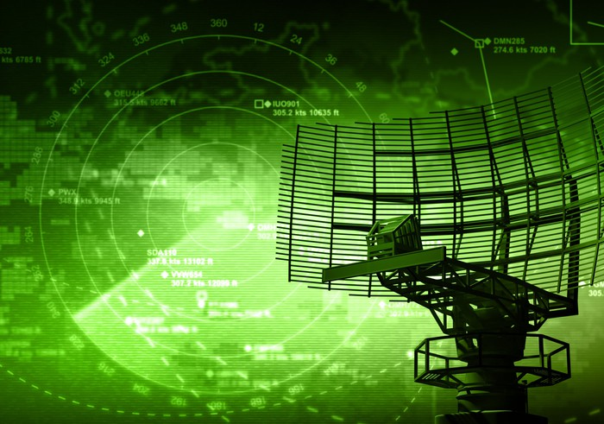 Green radar screen and antenna.