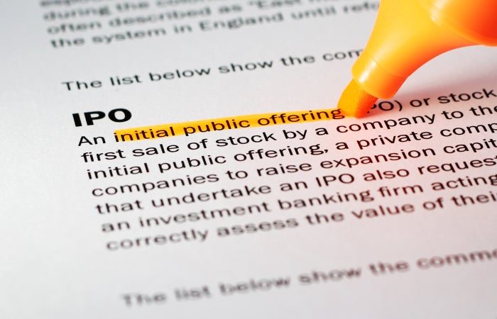 Paper with definition of IPO highlighted
