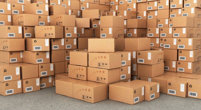 Stacks of delivery boxes.