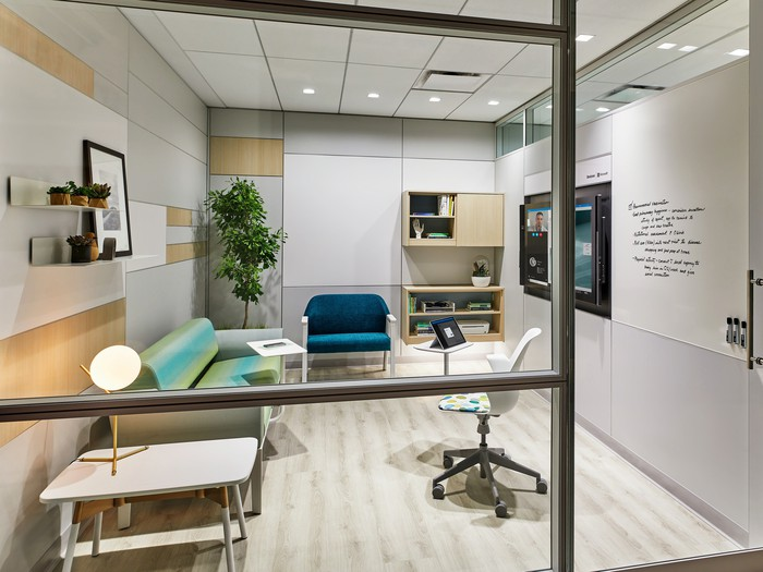 Waiting room in contemporary health organization setting.