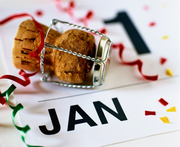 Champagne cork on top of a calendar showing January 1