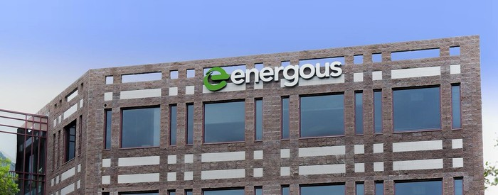Brick building with Energous logo on the side.