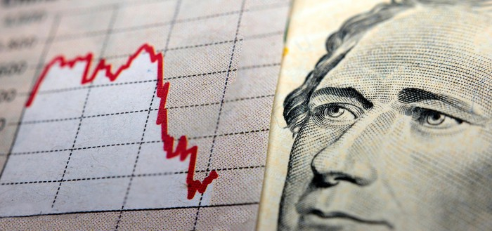 Downward-facing stock chart in red ink, next to picture of Alexander Hamilton from $10 bill.
