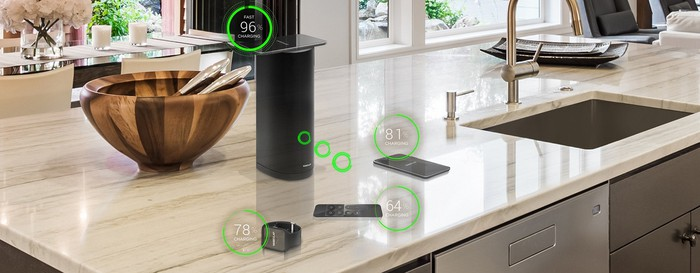 Smart home devices being wireless charged.
