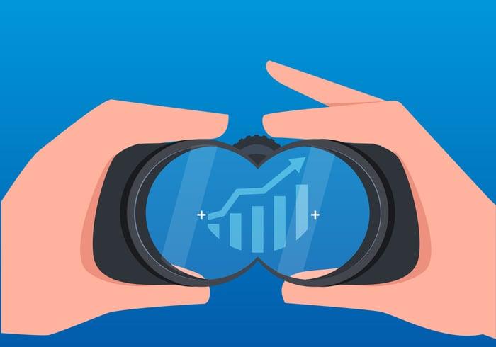 Cartoon of binoculars looking at a stock growth chart.