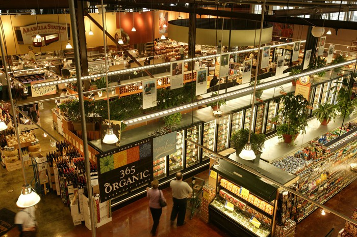 Interior of a Whole Foods store from above.
