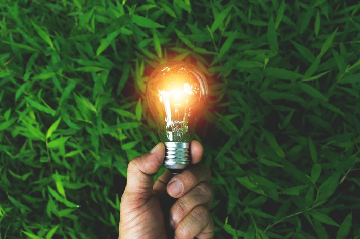 A man's hand holds a lit Edison bulb against a background of green grass.