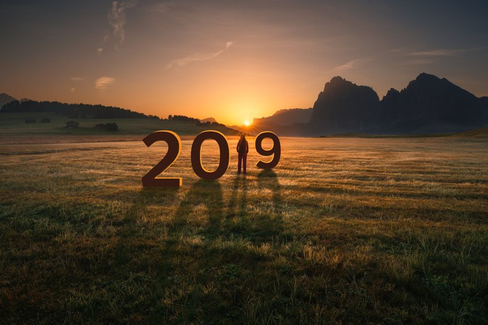 The numbers 2019 in a field with a person standing in place of the number 1 and the sun rising in the background.