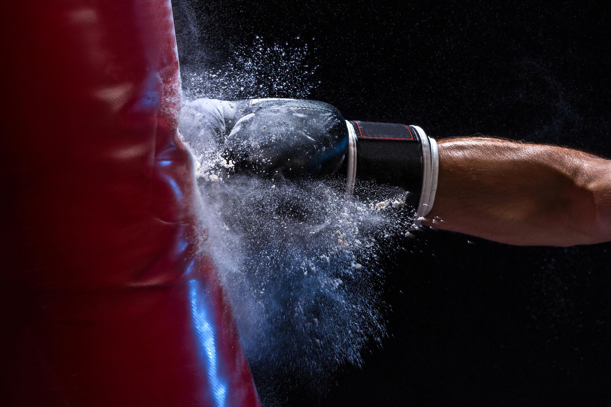 A boxer punching a bag