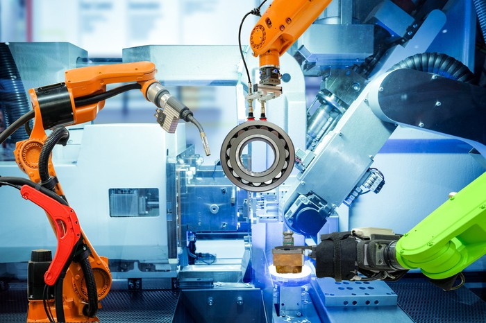 Industrial robots in a factory.