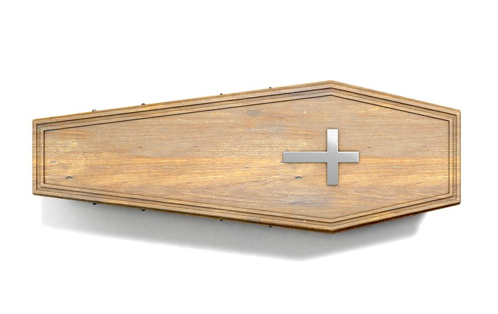 A wooden coffin.