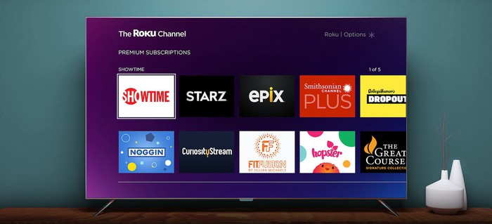 Image of a TV with Roku's Channel on the screen.