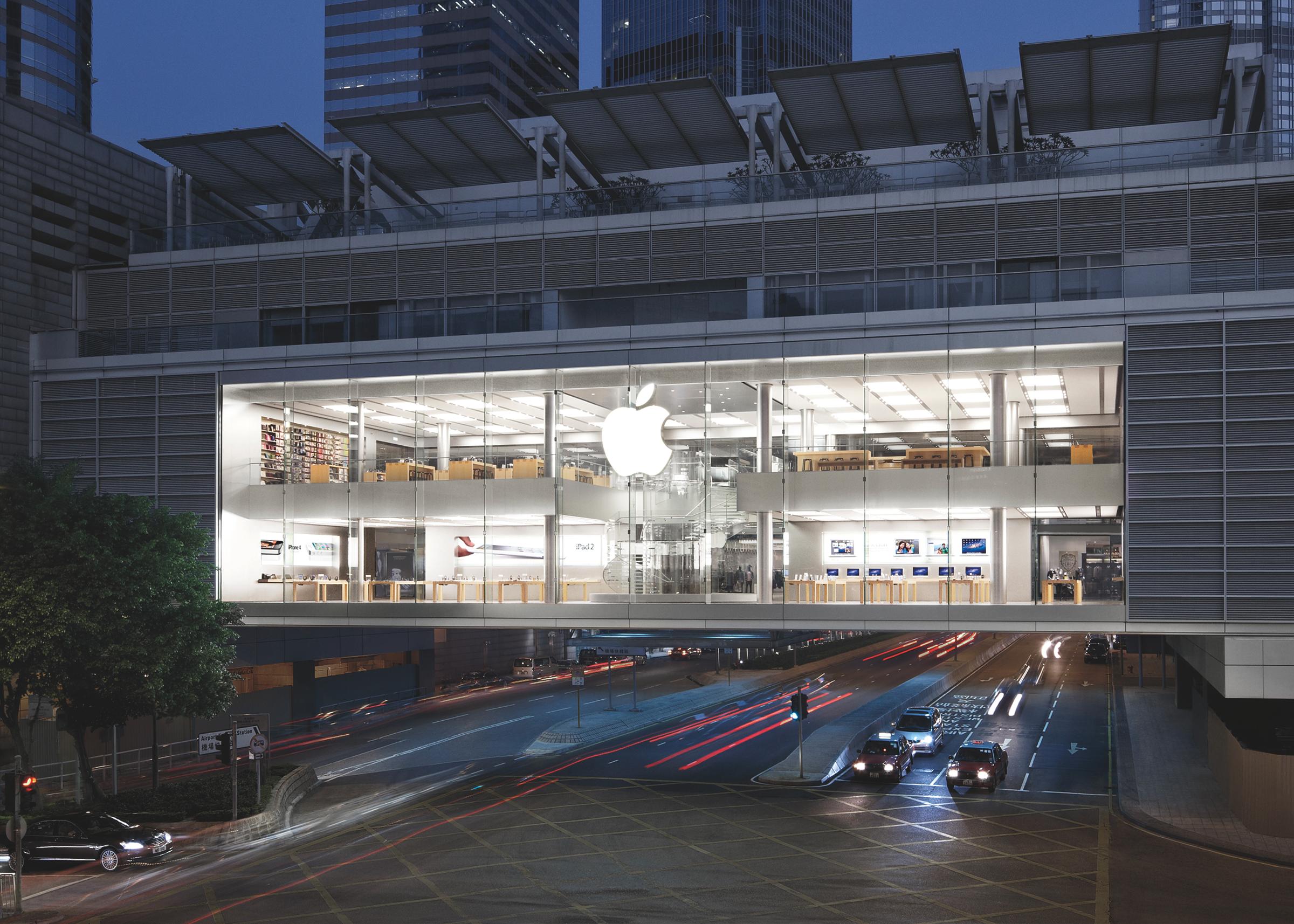 Exterior of Apple Store Hong Kong at night