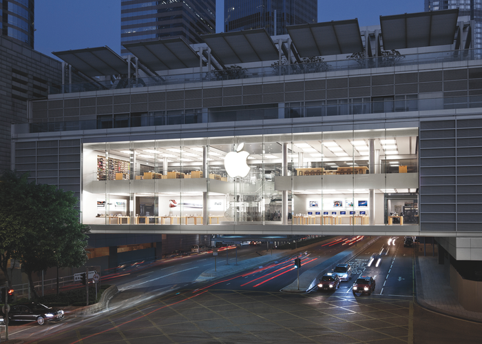 Exterior of Apple Store Hong Kong at night