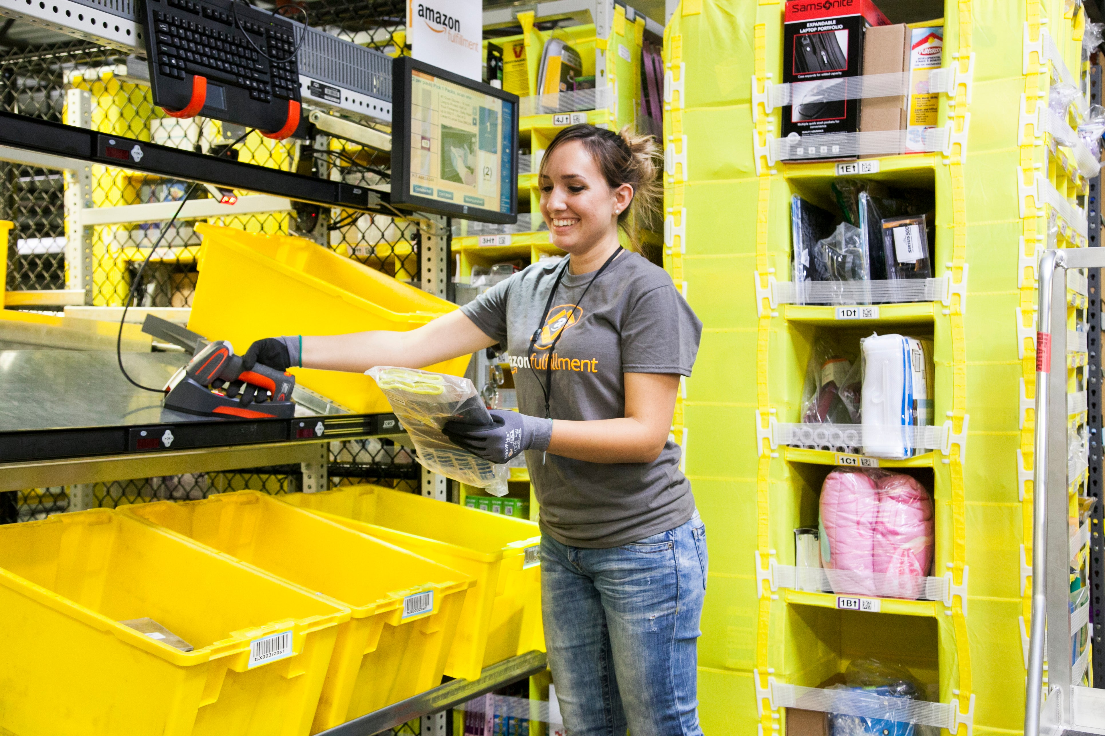 An Amazon worker in one of the company's fulfillment centers.