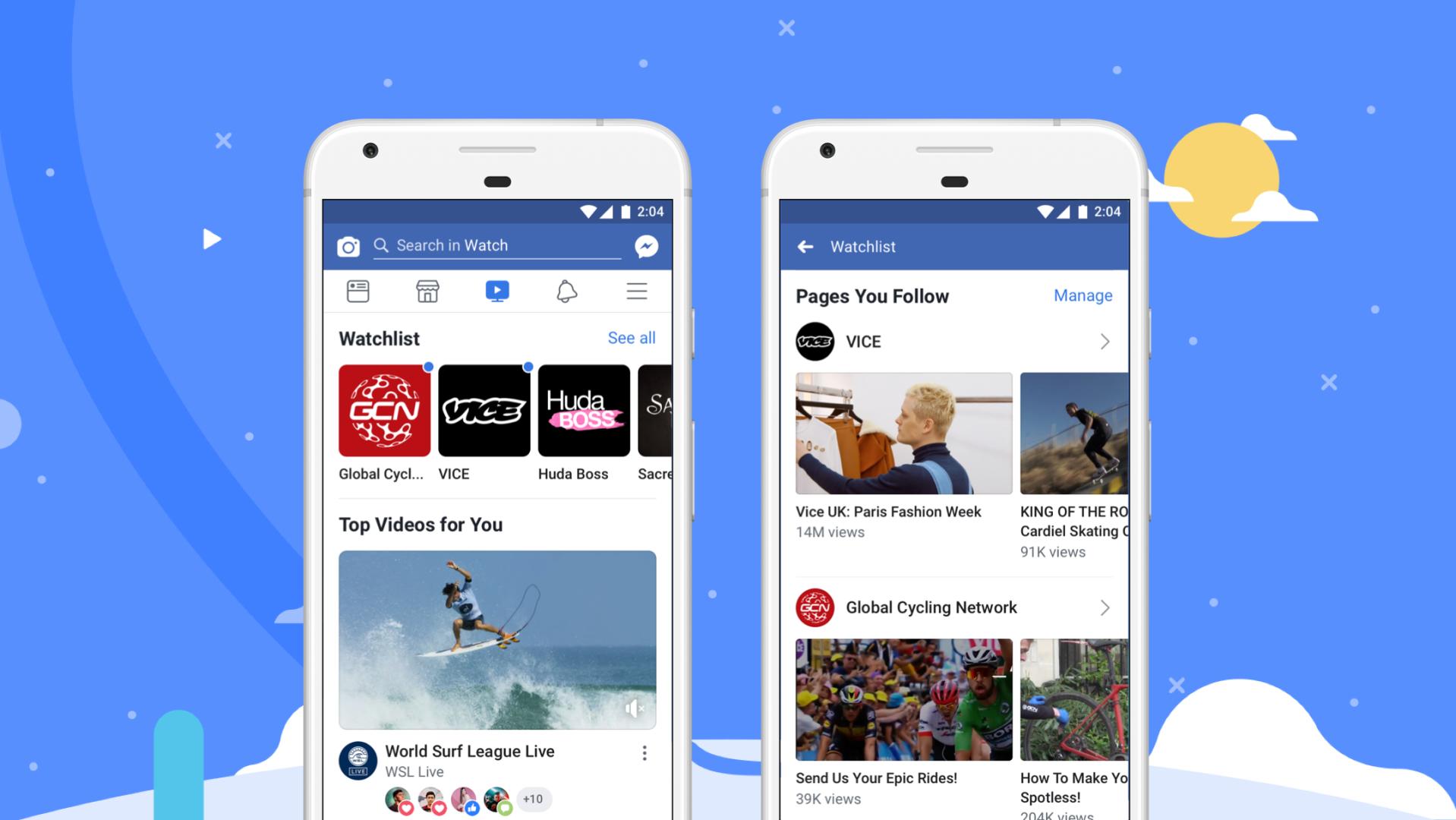 Facebook Watch displayed on smartphones