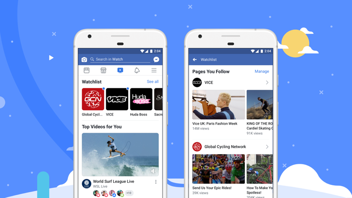 Facebook Watch displayed on smartphones