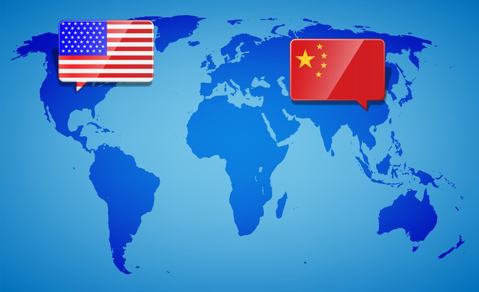 A map of the world with U.S. and China flags highlighted.