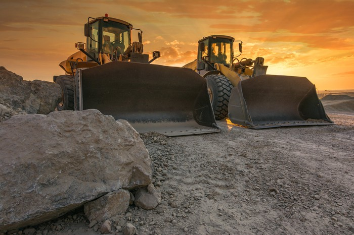 Two surface mining excavators
