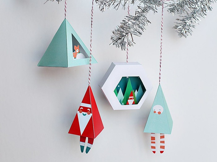 Some printable Christmas ornaments from Etsy.