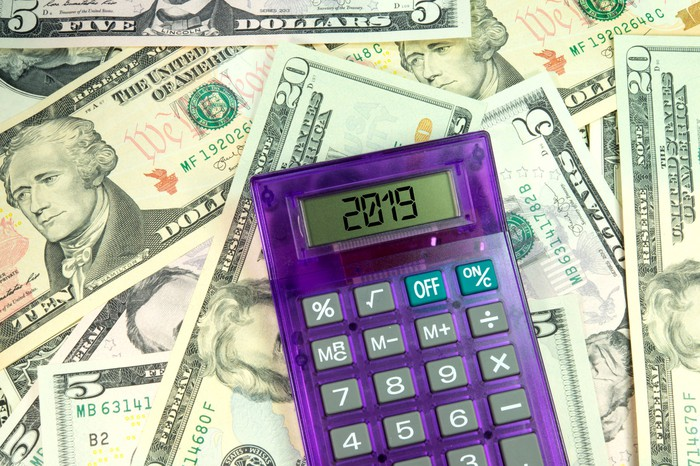 calculator that reads 2019 lying on top of a pile of cash