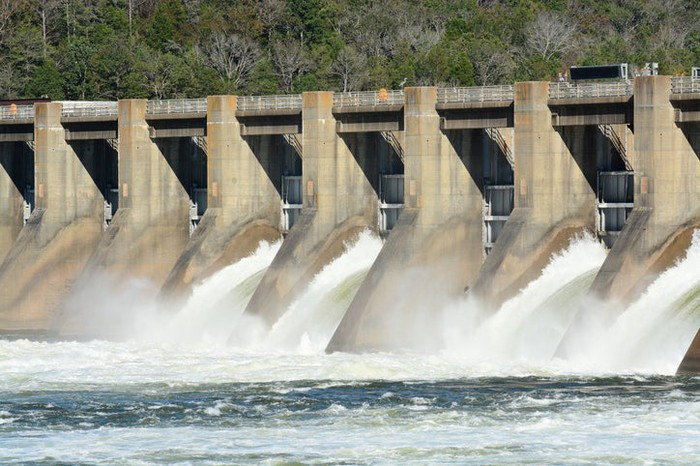 A spillway of a hydroelectric dam.