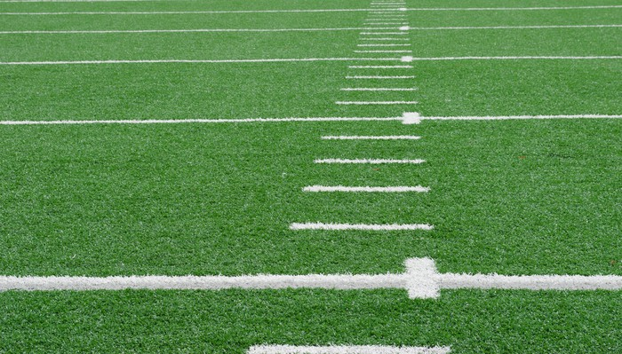Close-up view of a football field.