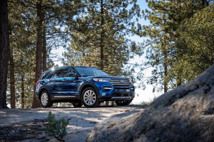 A blue 2020 Ford Explorer Limited, parked on a boulder in a forest