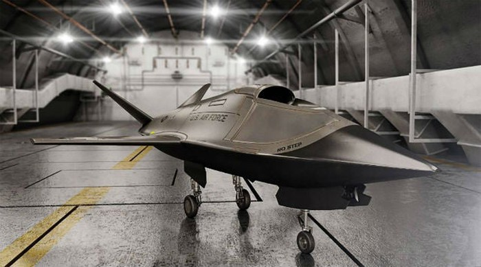 Kratos XQ-58A Valkyrie drone in a hanger