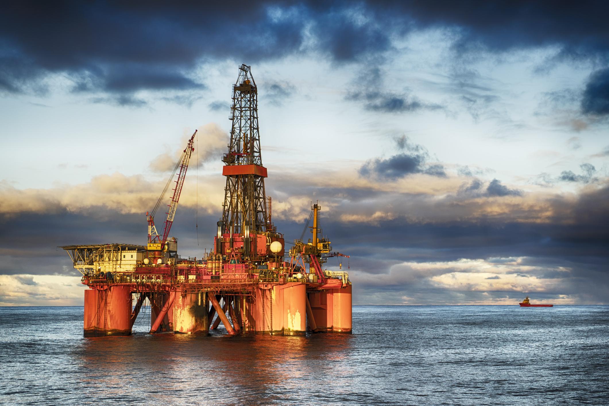 An offshore oil drilling platform