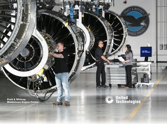 A UTC Pratt & Whitney engine service center.