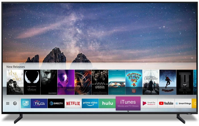 Image of a TV with Apple's software on it.