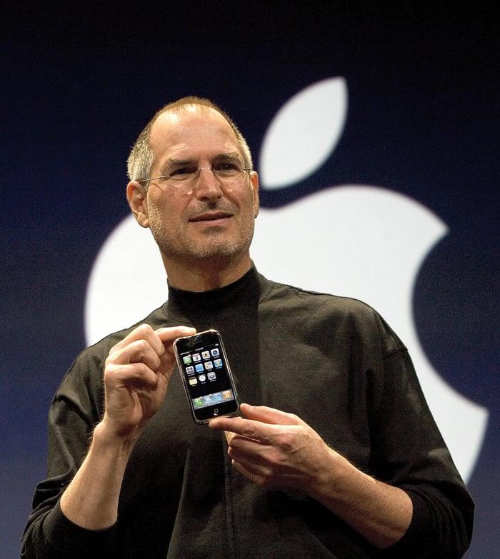 Apple's former CEO Steve Jobs holding the original iPhone.
