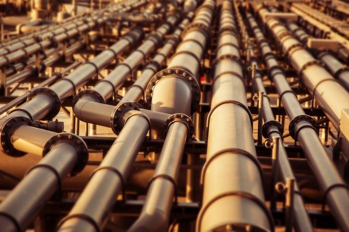 A series of pipelines of various diameters.