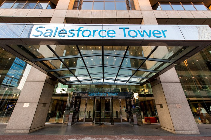 Exterior entryway of Salesforce Tower in Indianapolis.