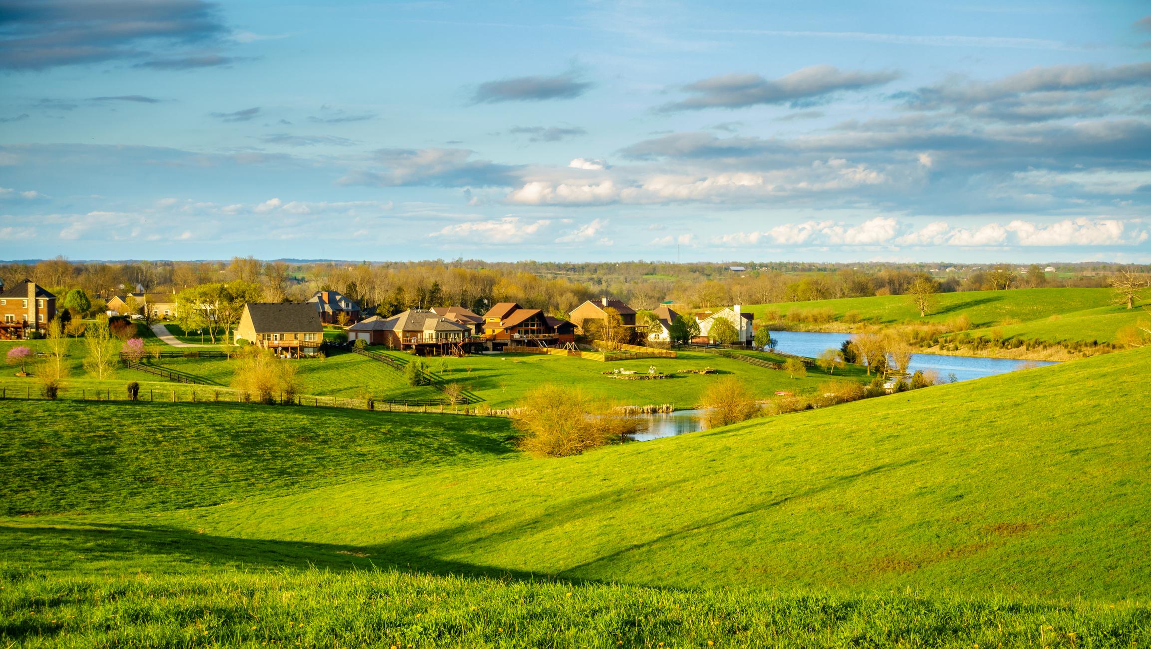 Green fields and a bucolic scene