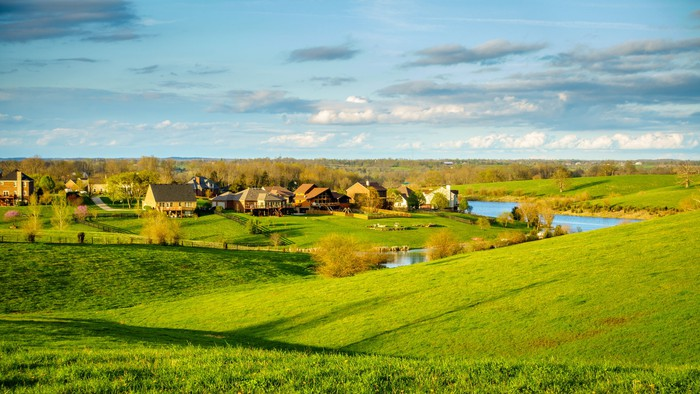 Green fields and a bucolic scene