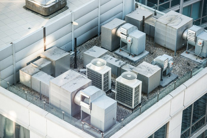 Air conditioning units on a building rooftop