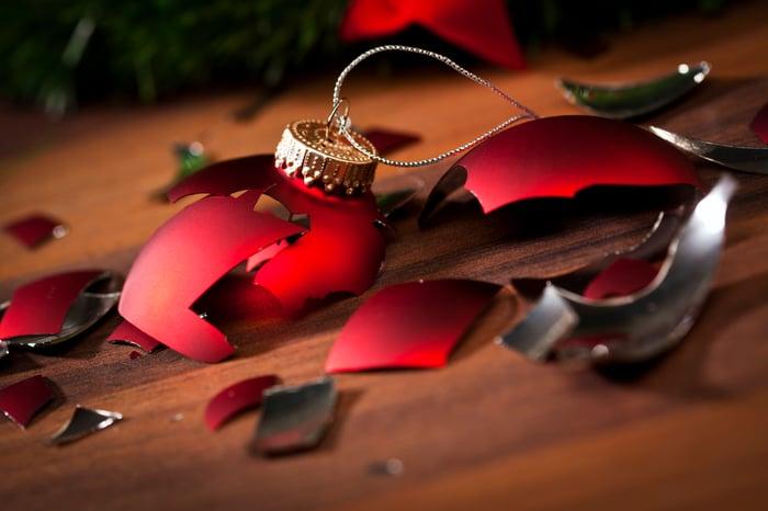 A broken Christmas ornament.
